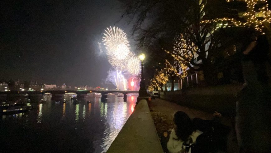 Fireworks watched by the river Thames by Nadia Clarke