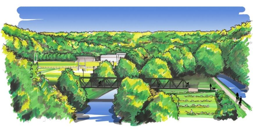 Aerial artists impression of the West Vale Bridge at Elland. Trees are in the background with bridges over a river on the left