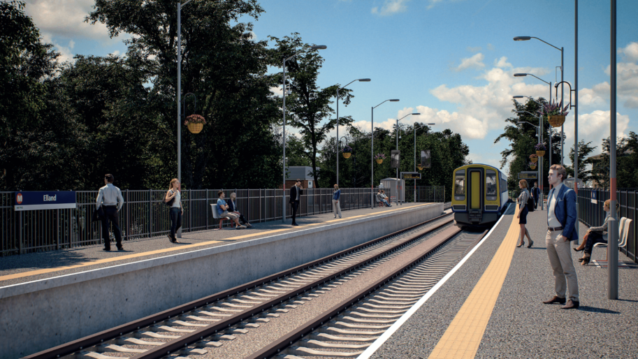 Artists impression of the proposed station at Elland