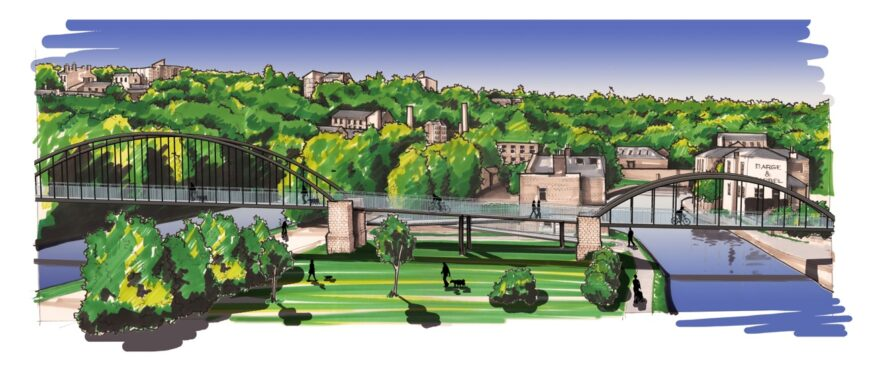 Aerial artists impression of the proposed station at Elland. Trees are in the background with bridges over two rivers in the foreground